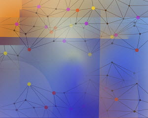 Abstract network pattern of connected dots and lines