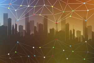 Abstract network connection pattern over city skyline