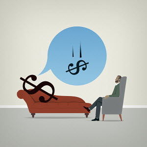 Dollar sign on psychiatrists couch worrying about falling value