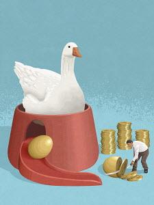 Goose laying golden egg for businessman making money