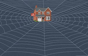 House with For Sale sign caught in web
