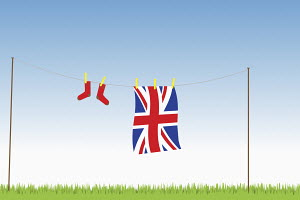 Union Jack flag hung out on washing line