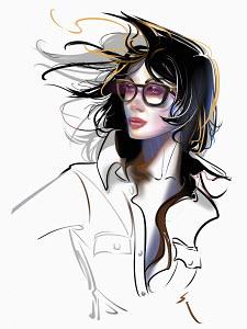 Fashion illustration of windswept woman wearing glasses