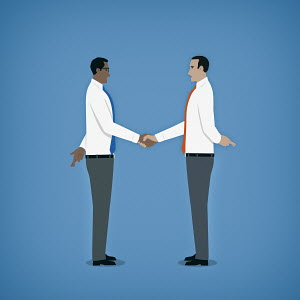 Hypocritical businessmen shaking hands hiding crossed fingers behind their backs