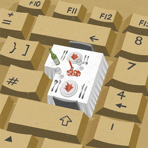 Festive menu on enter key of computer keyboard