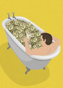 Man taking a bath in hundred dollar bills