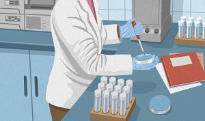Scientist experimenting in laboratory