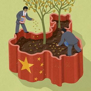 American and European businessman planting coins inside Chinese soil