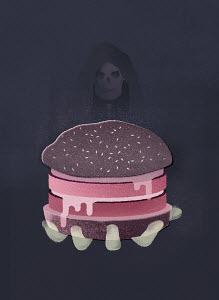 Grim reaper offering a hamburger