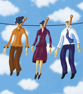 Three business people hanging on a clothesline