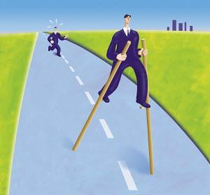 Businessman walking on stilts on road getting rid of pursuer