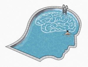 Man inside head and brain swimming pool