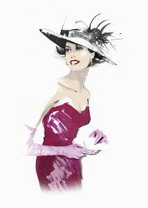 Elegant woman wearing hat and strapless dress