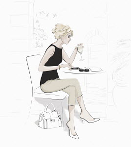Relaxed woman sitting at table drinking glass of wine