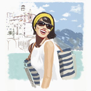 Laughing young woman on vacation