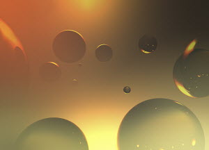 Abstract backgrounds pattern of gold bubbles