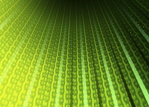 Rows of binary code streaming in direction of arrows