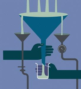 People sharing flowing liquid