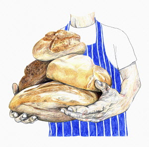 Artisan baker holding armful of loaves of bread