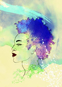 Profile of beautiful woman with superimposed tree and flowers