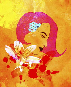 Profile of beautiful woman with superimposed flowers