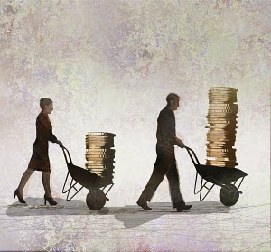 Businessman and businesswoman and gender pay gap