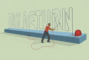 Man doing Tax Return electric buzzer game
