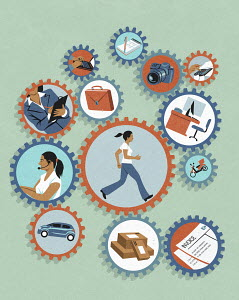 Woman running inside of cogs balancing work and finances