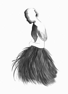 Fashion illustration of woman wearing fluffy black evening gown