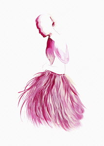 Fashion illustration of woman wearing fluffy pink evening gown