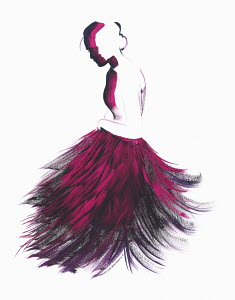 Fashion illustration of woman wearing fluffy mauve evening gown