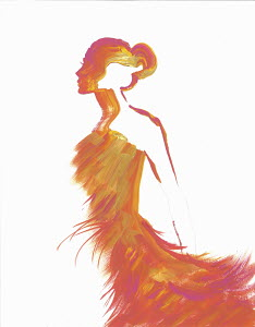 Silhouette of woman wearing orange fluffy evening gown