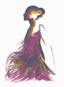 Silhouette of woman wearing purple feather dress