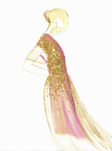 Fashion illustration of woman wearing gold sequin evening gown