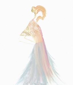 Fashion illustration of woman wearing sheer fabric evening gown
