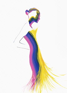 Fashion illustration of woman wearing tight fluffy evening gown