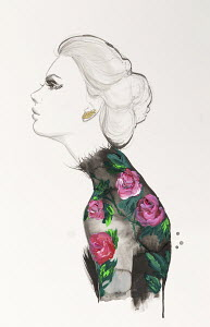 Fashion illustration of woman wearing floral pattern black top