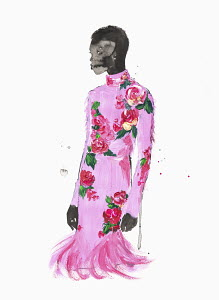 Fashion illustration of woman wearing floral pattern pink dress