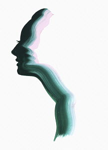 Brush stroke silhouette of woman's face
