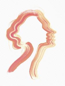 Brush stroke silhouette of woman's head