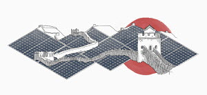 Landscape around Great Wall of China covered in solar panels