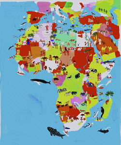 Illustrated map of African and Middle Eastern culture and wildlife