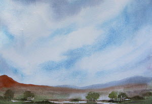 Watercolour painting of hills and lake against blue sky