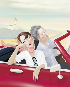 Confident couple on a road trip in convertible car