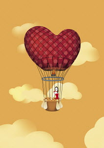 Woman in heart-shaped hot air balloon
