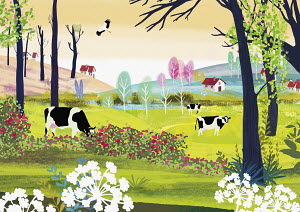 Tranquil rural landscape with cows, houses, trees and flowers