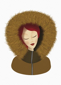 Woman posing as astrology sign Leo with fur trim hood