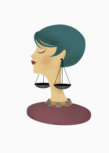 Woman posing as astrology sign Libra with scales as earrings