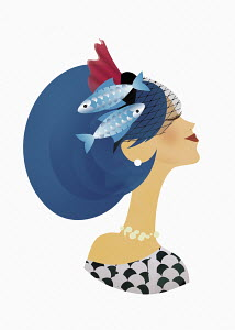 Woman posing as astrology sign Pisces with fish swimming in her hair