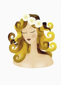 Woman posing as astrology sign Virgo wearing flower wreath
